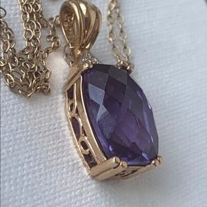 Sterling gold plated filled  Amethyst necklace